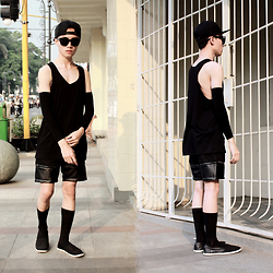 Arif Supandy - Adidas Snapback, Third Day New York Men Tank Top, 24:01 Contrast Pu Metallic Zipper, 24:01 Mixed Material Slip On Shoes, 24:01 Matte Black Sunglasses - Quirky