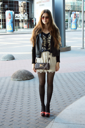 Adelina - Valentino Blouse, Louis Vuitton Bag, Silvian Heach Heels, Zara Leather Jacket, Zara Skirt - This is how I do