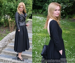 Retro Moderna - Walktrendy Jacket, Sheinside Dress - Black dress