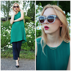 Iris H. - Monki Sunglasses, Mango Dress, H&M Trousers, Zara Heels - GREEN