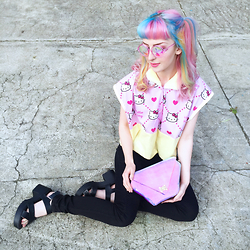 Kate Hannah - H0les Lite Glasses (Pink), Maude Studio Diamond Deluxe Bag (Iridescent Candy Pink), Hello Kitty Button Up (Self Made) - ~HELLOOO KITTY~