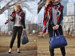 Agnes W - Zara Blanket Scarf, Miss London Bomber Jacket, Buffalo Jeans Crochet Sweater, Dollhouse Skinny Jeans, Kenneth Cole Bag, Lulus Ankle Cuff Heels - Navy Reaction