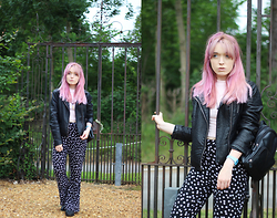 Peaches - Zara Faux Leather Jacket, H&M Pink High Neck Top, Asos Daisy Print Flares, Vintage Leather Backpack - Floral Flares
