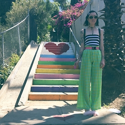 Alanna Pearl - Goodwil Vintage Trousers, Pleaser Pleasee Marabou Heels, Stripped Tube Top - Lost in silverlake