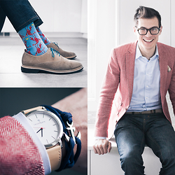 Chris Nicholas - Thread Etiquette Maverick Watch, Thread Etiquette Yachtmaster Navy Anchor Bracelet, Levi's® 511, Cole Haan Suede, Topman Lobster, Asos Herringbone Blazer, Indochino Shirt, Pocket Square Clothing The Azalea, Warby Parker Glasses, Perry Ellis Braided Belt, The Tie Bar Laces - 139