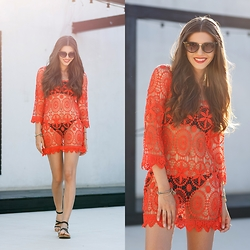 Larisa Costea - Shein Dress, Boohoo Sunglasses - Red cover up