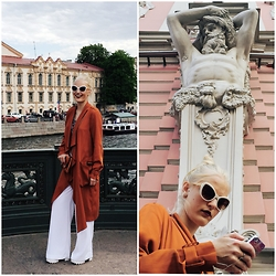 Darik Prikhod - Zara Trench Coat, Mango Pants, New Look Shoes, Moschino Sunglasses - St.Peters walks