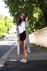 Mirella T. - Lindex Shades, Lindex Cardigan, H&M Top, H&M Shorts, Birkenstock Sandals - But you throw your head back laughing like a little kid
