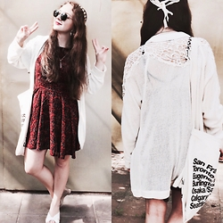Polina B. - Abercrombie & Fitch Dress, Forever 21 Cardigan, American Apparel Bag, Ray Ban Sunglasses, Headband - Summer time
