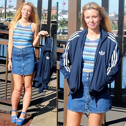 Heather Barnes - Topshop Crochet Square Neck Top, Urban Outfitters Denim A Line Skirt, Adidas Navy Firebird Track Top, Strawberry Blue Ankle Strap Flatform Sandals - Summer Blues