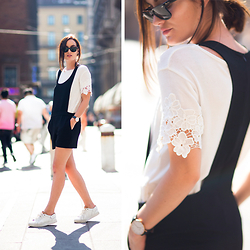 Anouska Proetta Brandon - Pimke Romper, Topshop Lace Top, Rayban Sunglasses, Shoes - Black Romper & Lace Sleeves