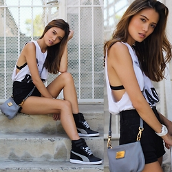 Sharon Wu - Forever 21 Baad Lambie Muscle Tank, Marc By Jacobs Q Percy Purse, Bdg High Waisted Shorts, Urban Outfitters Lace Bralette, Michael Kors White Ceramic Watch, Puma Black/Grey Wedge Sneakers - BAADass