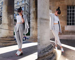 Agata Nika - Zara Pants, Zara Blazer, Zara Sandals, Zara Crop Top - The lightest shade of grey