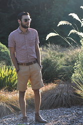 Hector Diaz - Jeremiah Clothing Short Sleeved Shirt, J. Crew Brown Khaki Shorts, Club Monaco Belt, Aldo Leather Desert Boots (Similar), Express Shades - True to your Roots