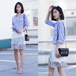 Claire Liu - Equipment Striped Shirt, Zara Fringes Skirt - Stripes Meet Fringes