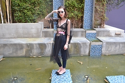 Alanna Pearl - Rehab Bra, Vintage Dress Lining, 1900 Kitten Heel Mule, Topshop Skinny Jeans, Dog Collar As Belt, Tunnel Vision Glitter Cat Eye - 2 sheers do not make an opaque