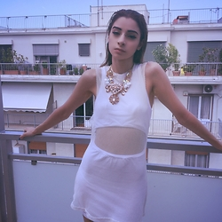 Ellie Nik - Unif Mesh Overlay Mini Dress, H&M Necklace - Athens