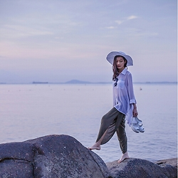 Ren Rong - Haute Hippie Drape Harem Pants, H&M White Beach Hat - The Most Beautiful Day