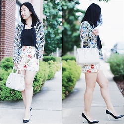 Rachel Li - Cynthia Vincent Blazer, Zara Shorts, Stuart Weitzman Heels, Kate Spade Purse - Patterns