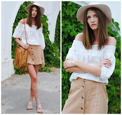 Yulia Sidorenko - Warehouse Blouse, Mango Gladiator Sandals, H&M Hat, Bag - Bohemian love