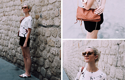 Laugh of Artist - Triwa Sunglasses, Chic Wish Top, Forever 21 Short, Aldo Sandals, Zadig & Voltaire Bag - Heat wave look