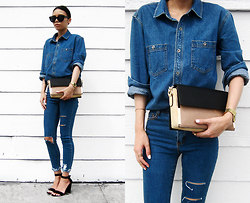 Visa Lom - Forever 21 Men's21 Chambray Top, Melie Bianco Abby Shoulder Bag, Plastictail Simple Cat Eye Sunglasses - Abby