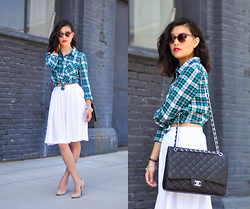 Cleo - Forever 21 Sunnies, Plaid Flannel, Asos White Midi Skirt, Nude Heels, Chanel Purse - Chanel