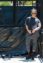 Nicole Kim - Topshop Black Sunglasses, Yoshirt Graphic Tee, One Teaspoon Striped Joggers, Jeffrey Campbell Black Platform Boots - Grids/Stripes
