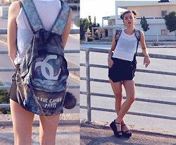Euridice K - Diy Chanel Backpack, Stradivarius Shorts, Vintage Top, Zara Shoes - MY CHANEL BACKPACK