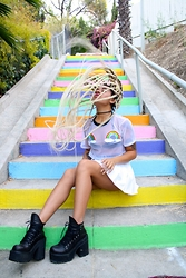 Lee Catherine - The Ragged Priest Rainbow Top, Unif Shoes, Tunnel Vision Choker, American Apparel Skirt - #LOVEWINS