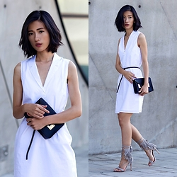 Claire Liu - Theory White Dress, Schutz Fringe Sandals - Little White Dress