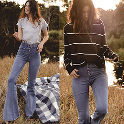 Elle-May Leckenby - Denim Bell Bottoms, Lamixx Plain Grey Tee, Staple The Label Turtle Neck - Sun-drenched blues