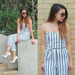 Jessica Sheppard - Lotd Striped Jumpsuit, Asos Sunglasses, Missguided White Court Shoes, In Your Dreams Temporary Tattoo - STRIPED JUMPSUIT.