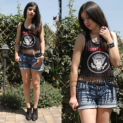 Vanny Roxx - Spm Shoes Ankle Boots, C&A Denim Shorts, Forever 21 Fringe Tank - Youth gone wild.