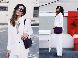 Katu Mikheicheva - Befree Suit Jacket, Misha4sure Fashion Eyewear, Coccinelle Leather Bag, Dkny Classic White Pants - White party