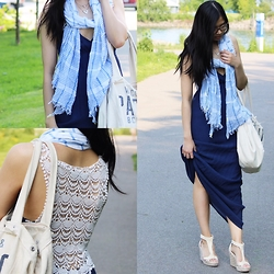 Rose . - American Eagle Outfitters Scarf, Forever 21 Dress, American Eagle Outfitters Bag, Steve Madden Wedges - Crochet Maxis