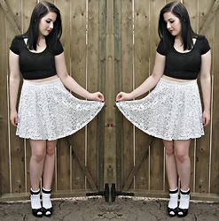 Caroline Swietkowski - Garage Black Crop Top, H&M Lace Skirt, White Socks, T.U.K Heels - Nesting dolls.
