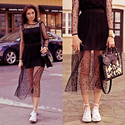 Perventina Ols - Asos Dress, Loeffler Randall Bag, Converse Shoes - Polka-dot dress