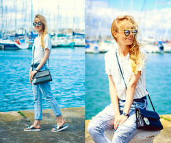 Anna Pogribnyak - Oasap Top, Oasap Jeans, Dresslink Sunglasses, Primark Shoes, Style Moi Ring - Seaside