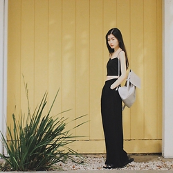 Chieh C - Zara Backpack, Asos Crop Cami Top, Vagabond Slide Sandals, Asos Wide Leg Trousers - Summer