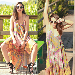 Natalia M - Zara Colorful Long Dress, Krack Lace Up Sandals, Oasap Lenon Sunnies - WELCOME TO THE JUNGLE