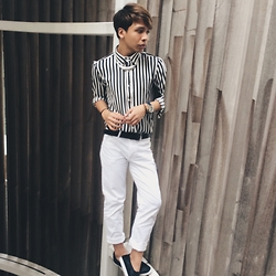 Firdaus Malfoy - H&M White Chinos, Asos Monochrome Top, Zalora Black Loafers, Forever 21 Statement Necklace, Michael Kors Watch - Safe haven