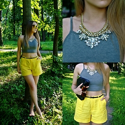 Victoria Kozakevych - Topshop Crop Top, Zara Leather Handbag - Yellow