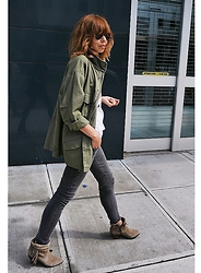 Natalia T - Mango Military Jacket, Sam Edelman Boots - Army Green