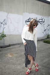 Sarah Huff - Forever 21 Wide Sleeve Knit Top, Forever 21 Striped Hi Low Dress, Ruche Orange Heels - Contrast