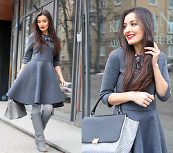 Lucine A - Desire Gray Dress, Desire Gray Bag, Charles&Keith Gray Boots - Shades of Gray