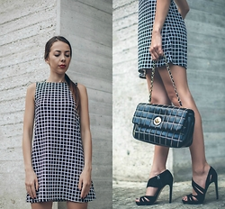 Blertina Shabani - Ginger G Plaid Dress, Moschino Quilted Bag, French Connection Uk Sandals - Clean Squares