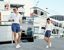 Chris Reyes - J. Crew Button Down Shirt, Topman Swim Shorts, Lacoste Sneakers - Harbourfront