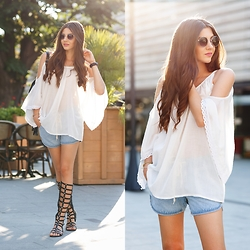Larisa Costea - Romwe Shorts, Romwe Blouse, Choies Sandals, Boohoo Sunglasses - One nore day of heat