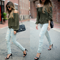 Pam Hetlinger - Asos Off The Shoulder - Khaki